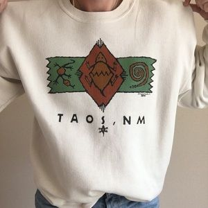Vintage Sweaters - Vintage Taos, New Mexico Crewneck Pullover Sweater
